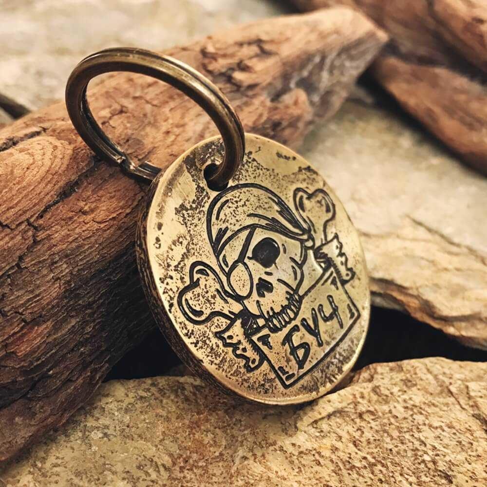 Медальон БУЧ на ошейник с гравировкой черепа-1